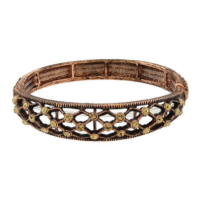 Copper-Tone Topaz Color Slim Filigree Stretch Bracelet