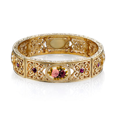 1928 Jewelry Gold Tone Floral Decal Filigree Stretch Bracelet