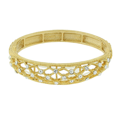 Goldfarbenes Kristall Slim Filigran Stretch Armband