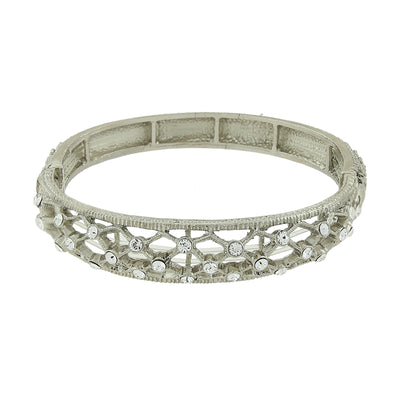 Silver-Tone Crystal Slim Filigree Stretch Bracelet