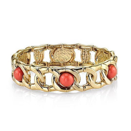 Gold-Tone Coral Orange Curb Link Stretch Bracelet