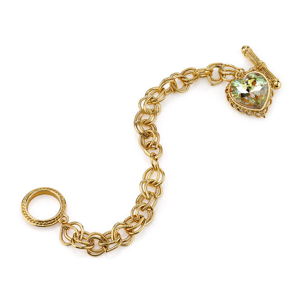 Gold Tone With Swarovski Crystal Aurore Boreale Heart Charm Toggle Bracelet