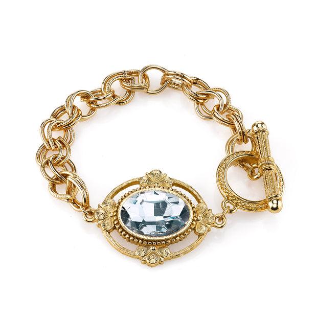 Gold-Tone Oval Crystal Faceted Toggle Bracelet