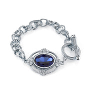 Silver Tone Blue Oval Faceted Toggle Bracelet