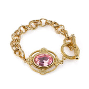 Gold Tone Light Rose Pink Swarovski Crystal Toggle Bracelet