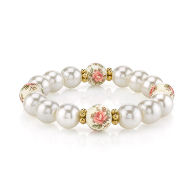Gold Tone Ivory Costume Pearl And Floral Beaded Stretch Bracelet