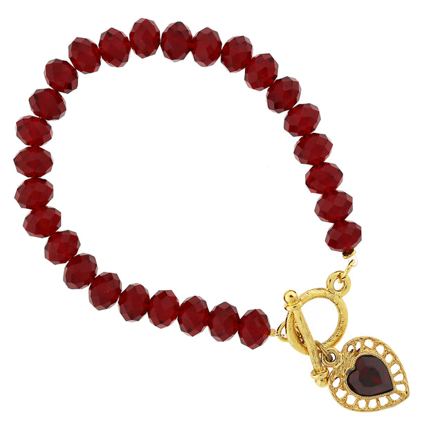 Gold Tone Red Beaded Heart Charm Toggle Bracelet