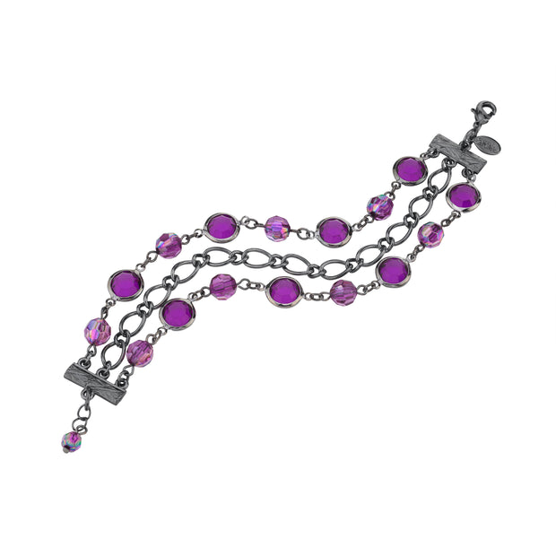 Purple 2028 Jewelry Black-Tone Channel And Ab Crystal Chain Link Bracelet