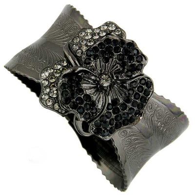 Black-Tone Black Diamond und Black Crystal Flower Cuff Bracelet