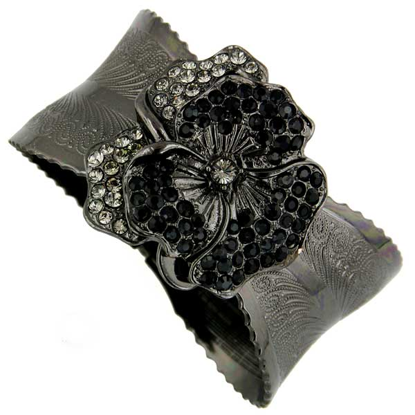 Black-Tone Black Diamond And Black Crystal Flower Cuff Bracelet