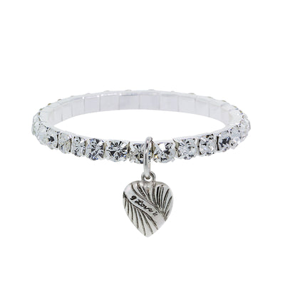 1928 Jewelry Silver-Tone Crystal Heart Charm Stretch Bracelet