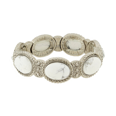 Silver Tone Gemstone White Howlite Stretch Bracelet