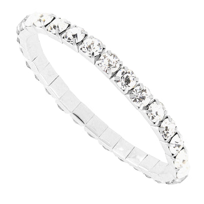 Silver Tone Clear Crystal Stretch Bracelet
