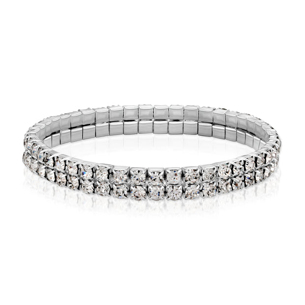 Silver Tone Clear Crystal 2 Row Rhinestone Stretch Bracelet