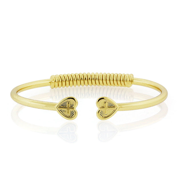 14K Gold Dipped Heart Cross Coil Spring C-Cuff Bracelet