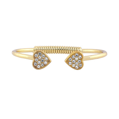 14K Gold Dipped Pave Crystal Heart Coil Spring C Cuff Bracelet