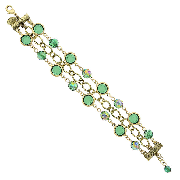 Gold Tone Emerald Green Ab Chain Link Bracelet