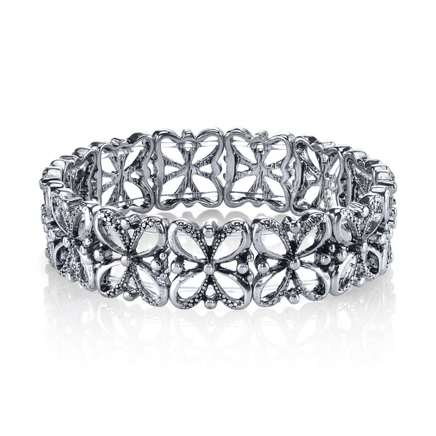 Silver Tone Filigree Stretch Bracelet