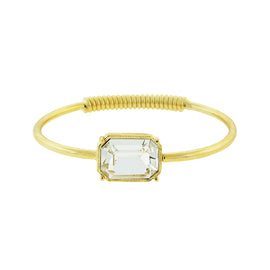 Fashion Jewelry - Gold-Tone Clear Swarovski Crystal Coil Spring Bracelet