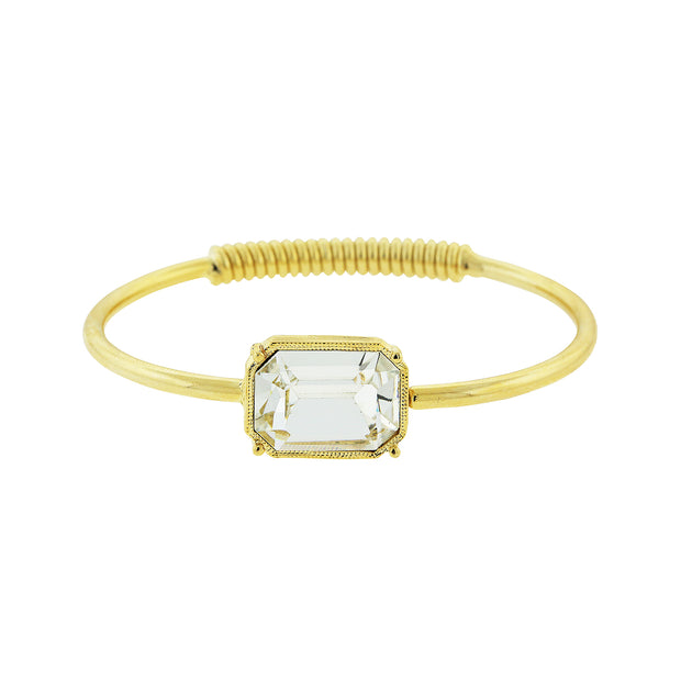 Coil Spring Bracelet Made With Clear Swarovski Crystal Gold