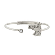 Silver Tone Clear Crystal Horse Head Accent Hinge Bracelet