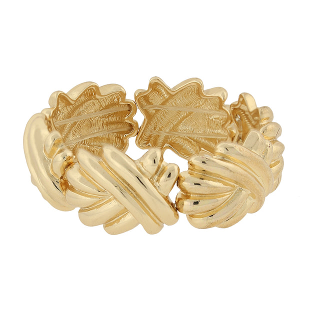 Gold Tone Articulated Swirl Stretch Bracelet
