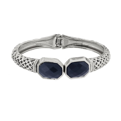 Antiqued Silver-Tone Textured Cuff Bracelet with Faceted Blue Stones