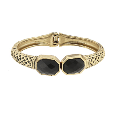 Antiqued Gold Tone Textured Cuff Bracelet With Faceted Black Stones