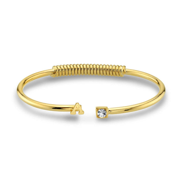 14K Gold-Dipped Initial And Clear Crystal Accent C-Cuff Bracelet