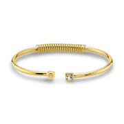 14K Gold Dipped Initial And Clear Crystal Accent Cuff Bracelets O