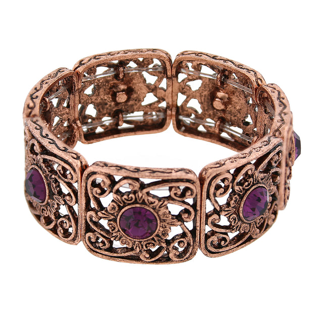 Burnished Copper Tone Amethyst Purple Color Filigree Stretch Bracelet