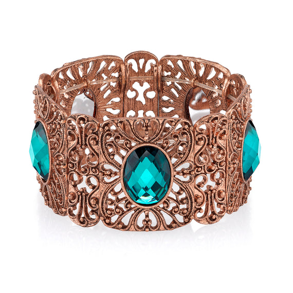 Fashion Jewelry - 2028 Color Filigree Burnished Copper Blue Zircon Wide Filigree Stretch Bracelet