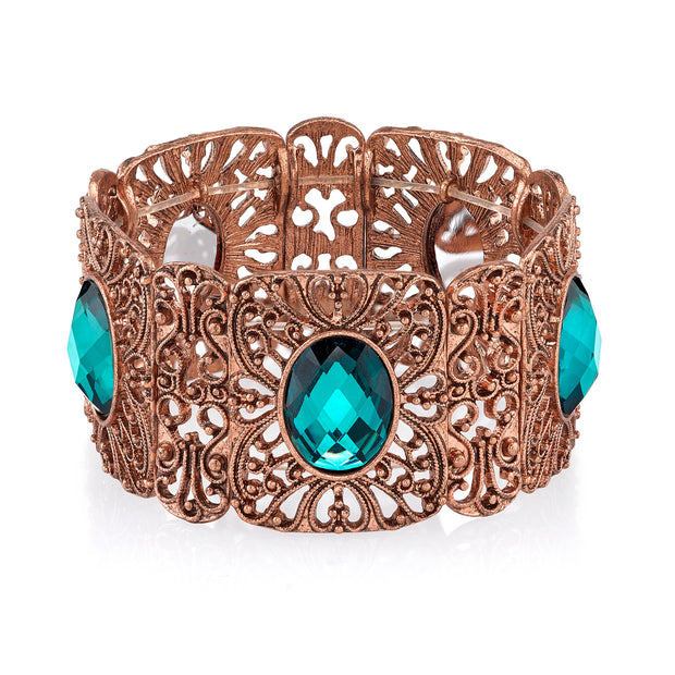 Burnished Copper Tone Blue Zircon Wide Filigree Stretch Bracelet