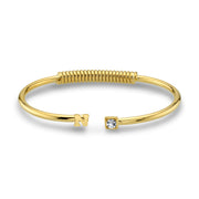 14K Gold Dipped Initial And Clear Crystal Accent Cuff Bracelets N