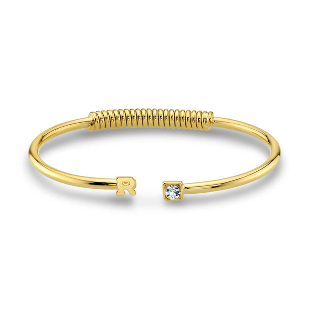 14K Gold-Dipped Initial and Clear Crystal Accent Cuff Bracelets