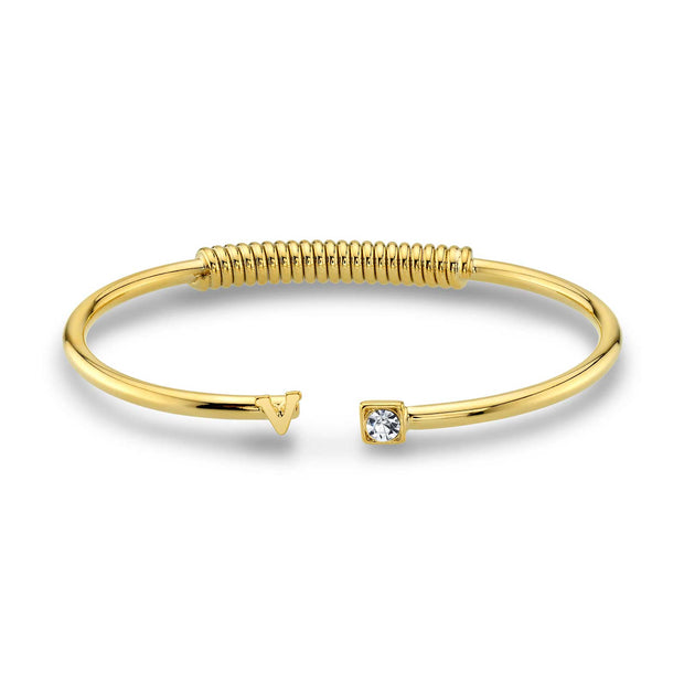 14K Gold-Dipped Initial and Clear Crystal Accent Cuff Bracelets V
