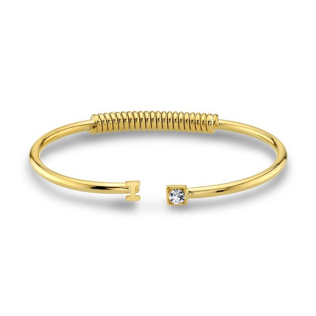 14K Gold Dipped Initial And Clear Crystal Accent Cuff Bracelets I