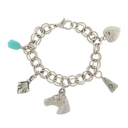 Silver Tone Turquoise Color Accents And Multi Charm Bracelet
