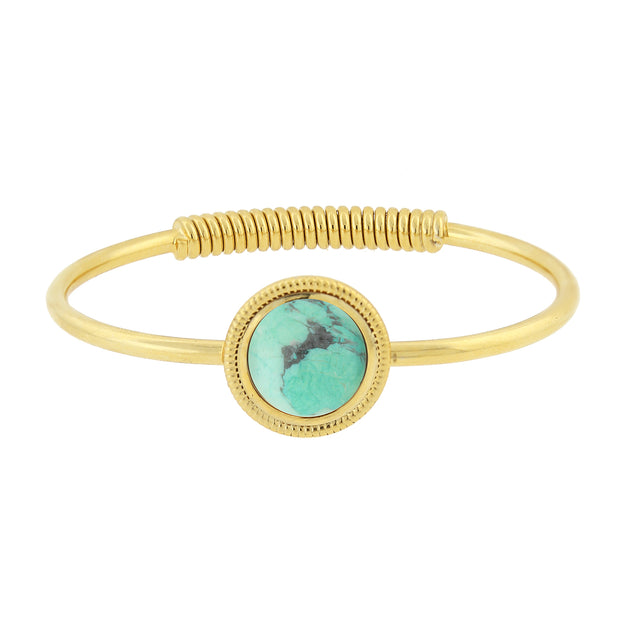 14K Gold Dipped Semi Precious Spring Hinge Bracelet Turquoise