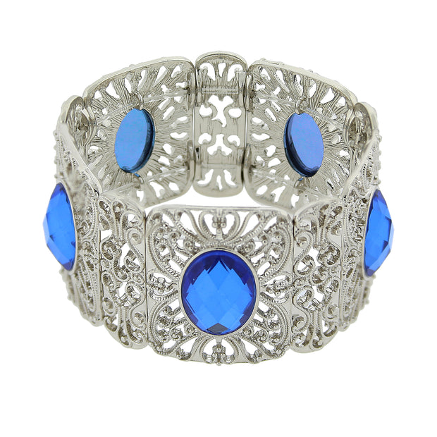 Silver Tone Sapphire Blue Color Wide Filigree Stretch Bracelet