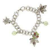 Silver Tone Grape Leaves And Multi Color Bead Accent Charm Bracelet