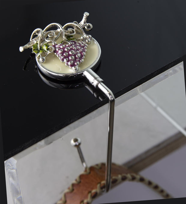 Silver-Tone Purple Grapes On Vine Purse Holder Lifestyle