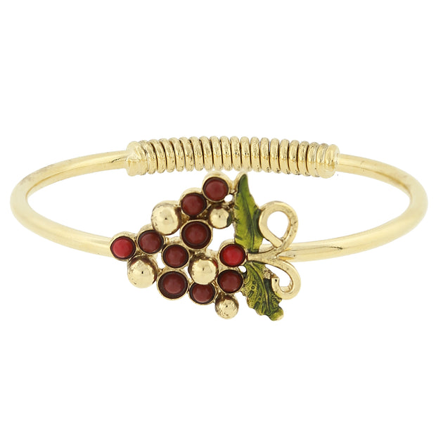 14K Gold Dipped Purple-Red Grapes Spring Hinge Bracelet