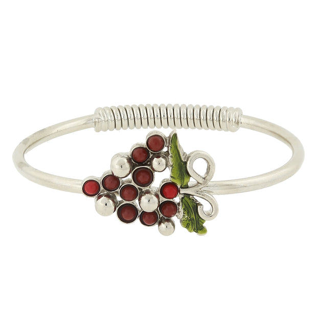 Silver Tone Purple-Red Grapes Spring Hinge Bracelet