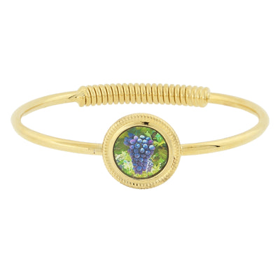 14K Gold-Dipped Purple Grapes Decal Spring-Hinge Bracelet