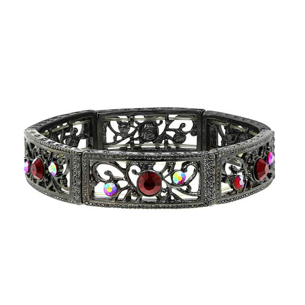 Black Tone Siam Red Ab Filigree Stretch Bracelet