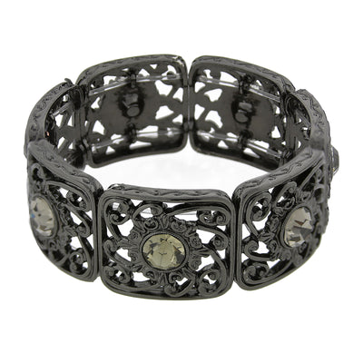 Black-Tone Black Diamond Farbe Filigran Stretch Armband