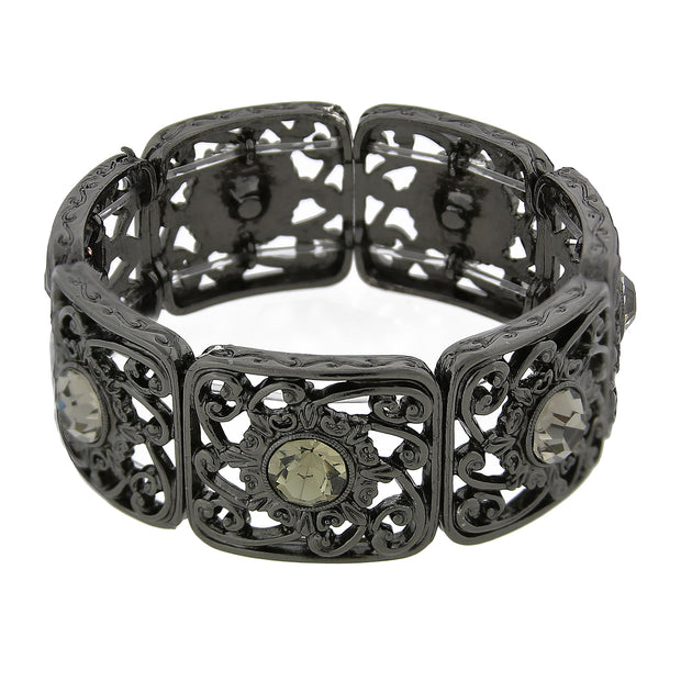 Black Intricate Wavy Filigree Round Crystal Stretch Bracelet