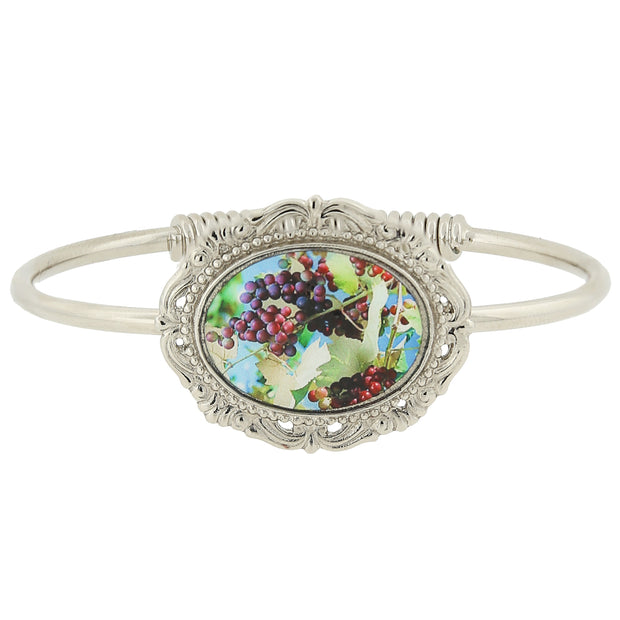 Silver Tone Multi Color Grapes Decal Spring Hinge Bracelet