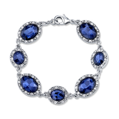 Silver-Tone Blue with Crystal Accent Bracelet